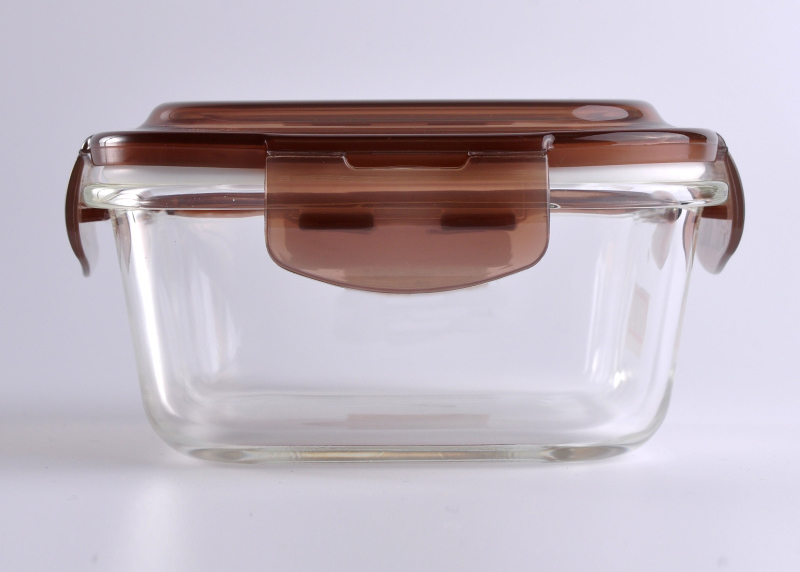487ml Rectangle Food Storage Glass Container with Blown Lid