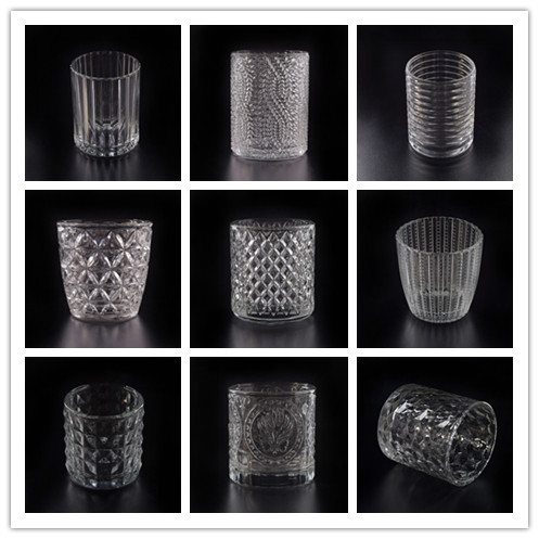 New arrival various of embossed pattern glass candle holder