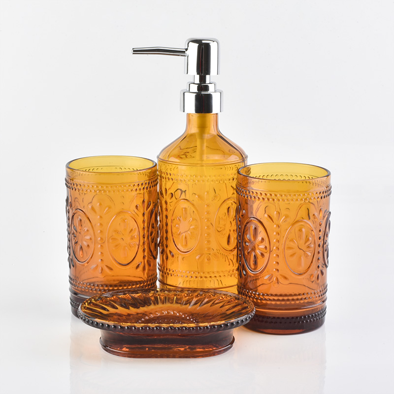 Amber glass bottle glass tumblers glass soap dish for bathroom for hotel