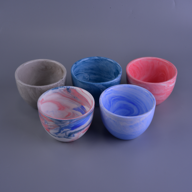 Hot Selling Marbel Pattern Ceramic Votive Candle Cup Different Colors Sets