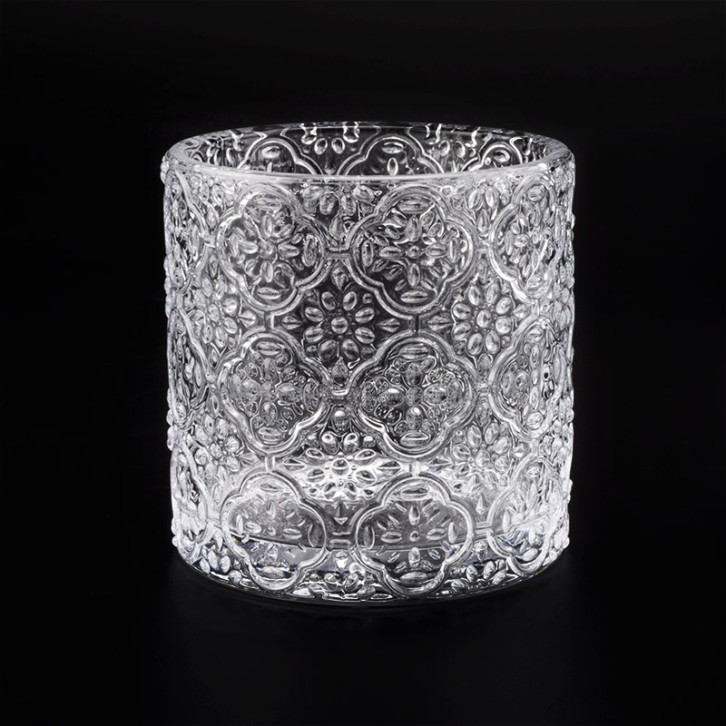 embossed glass candle holders