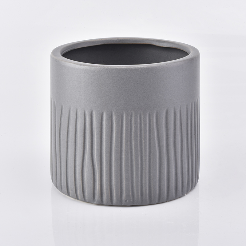 Matte grey ceramic candle jar with tree pattern 500ml