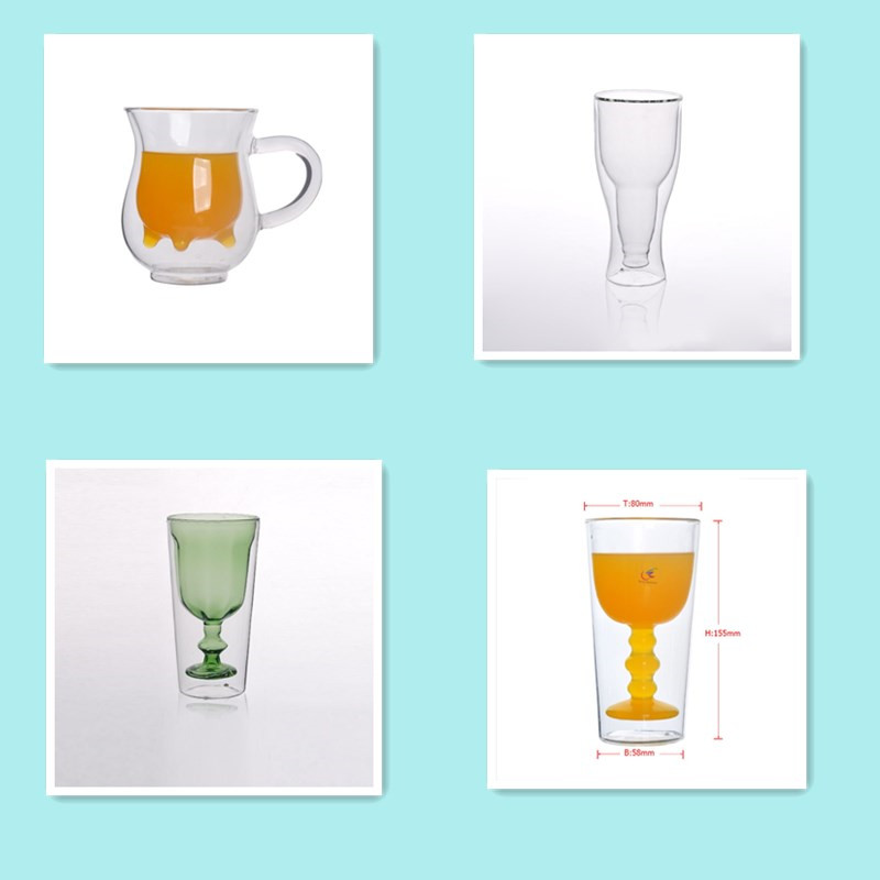 Sunny Glassware unique design shape double wall glass mug