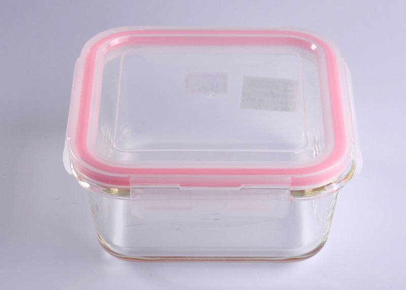 Air-tight Food Square Cover Glass Cookware with Plastic Pink Lid