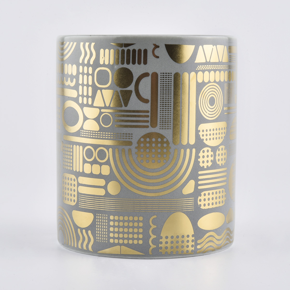 Gray Candle Holder Ceramic With Gold Decoration