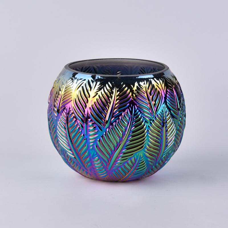 iridescent plating glass candle jars