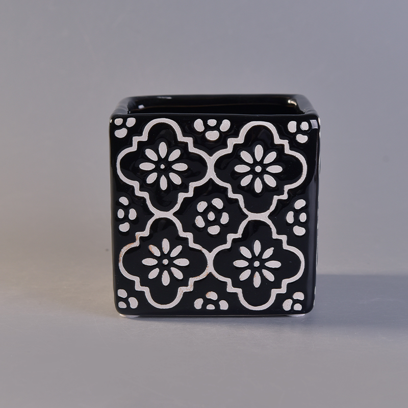 New arrived black square ceramic candle holder with custom print
