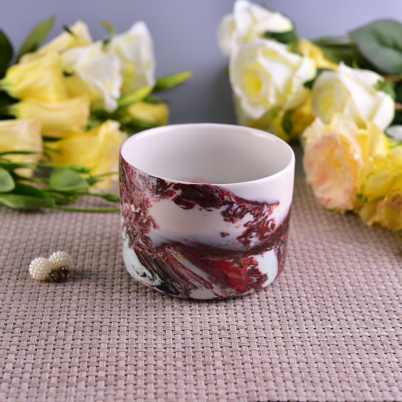 Landscape Pattern Decorative Ceramic Candle Holder for Scented Wax