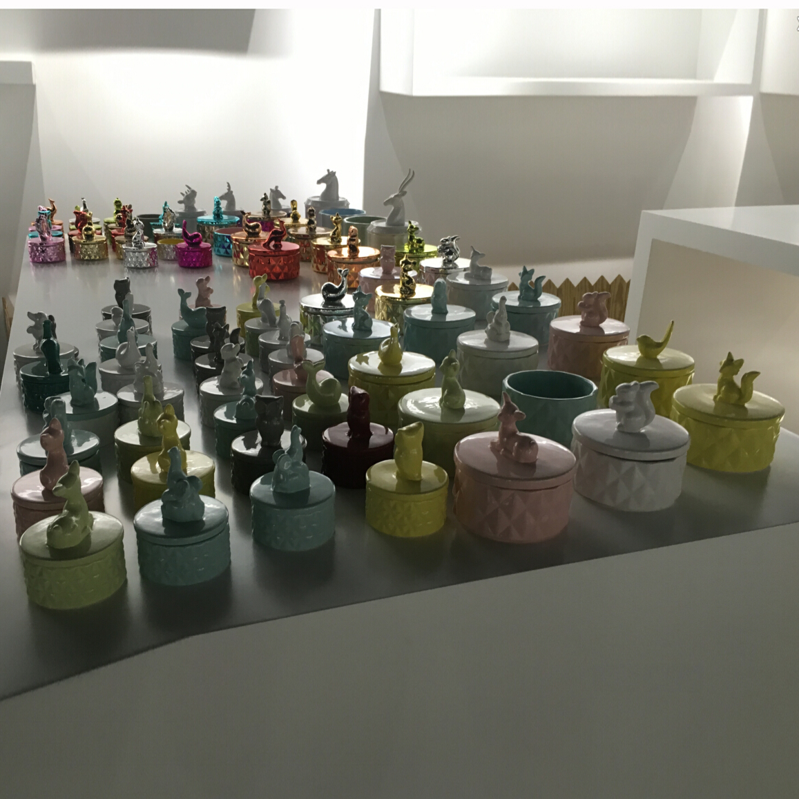 Various of 2017 unique design ceramic candle vessels with animal lids at Sunny Glassware