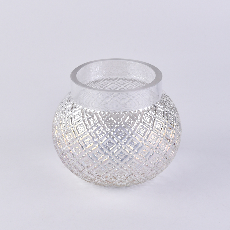 14oz Pearl white ball glass candle jars wholesale