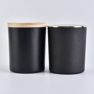 10 oz black glass candle jar with lid