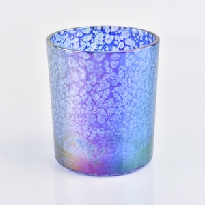 12 oz glass candle holder with mica glaze unique appearance