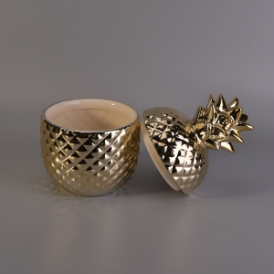 13oz Wax Filling Gold Ceramic Pineapple Candles Holder