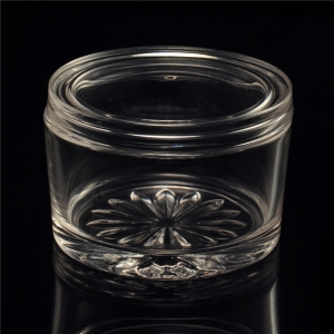 Crystal glass candle jar with lid