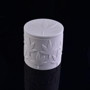 Custom Embossed Logo White Ceramic Candle Jar With Lid