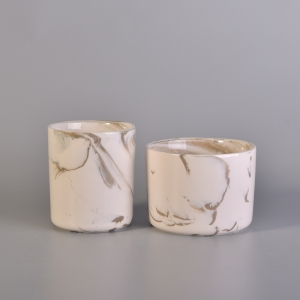 Long Cylinder White Marble Ceramic Candle Jars Hot Selling