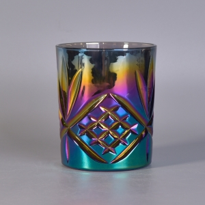 Pineapple Debossed Ombre Plating Rainbow Color Glass