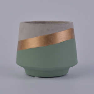Retro Cement Candle Containers with Gold Stripe for Home Decoration