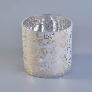 Shiny gold color glass candle holders for home decoration