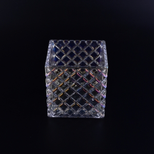 Square glass candle jar with ion plating finish
