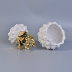 White Pineapple Ceramic Jar With Gold Lid 12 Oz Volume
