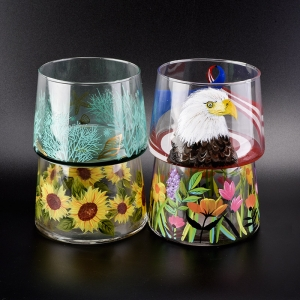 glass vessel with flower hand painting 24 oz capacity