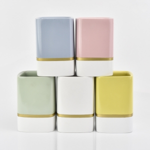 home deco square concrete candle jars