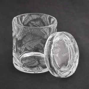 leaf pattern clear glass candle jar with lids