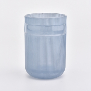 matte blue glass candle container with lid