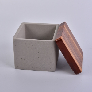 Square Concrete Candle Containers With Wood Lid