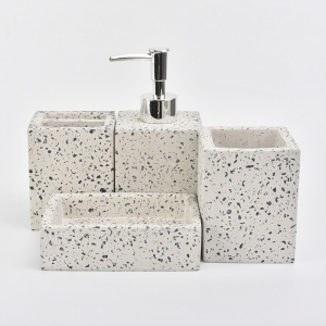 white concrete bathroom sets with black dots