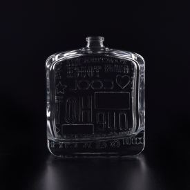 China 100ml glass perfume bottle with emboss pattern factory