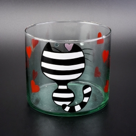 China 10cm diameter cylinder glass vessel with hand drawing cat pattern factory