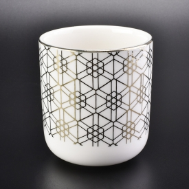 China 10oz white ceramic candle cup with gold printing-Fabrik