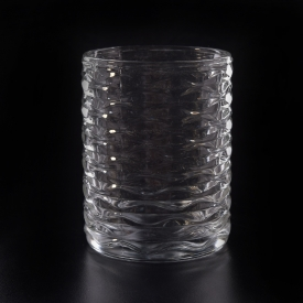 China 11.5oz glass candle jar with wave pattern factory