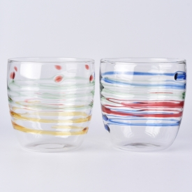 China 12oz borosilicate glass with color material mixed factory