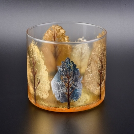 China 13oz glass candle holders with fallen leaves design factory