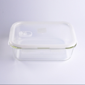 China 1453ml Rectangular Kitchen Food Glass Container with Plastic White Lid factory