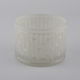 China 14oz embossed glass candle holder factory