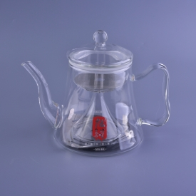 China 1L borosilicate teapot with infuser and lid metal base inside factory