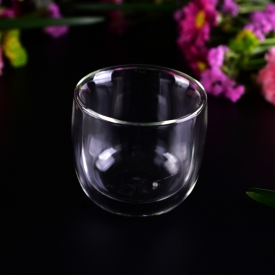 China 270ml small double wall tea glass cup factory