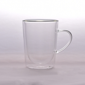 China 280 ml double wall glass coffee cup factory