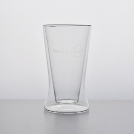 China 300 ml customized borosilicate double wall glass coffee cup factory