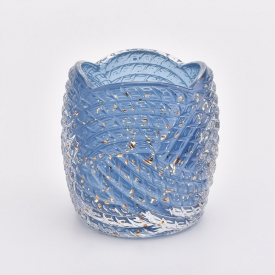 China 300ml luxury shining blue flower design glass candle jars factory