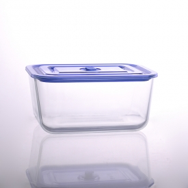 China 3050ml rectangular salad bowl pyrex glass lunch box with lid factory