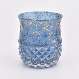China 350ml luxury blue glass decorative candle holder factory