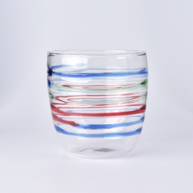 China 360ml borosilicate glass cup with hand painting factory