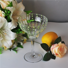 China 400ml Clear Mouth Blown Martini Glass with Green Dot factory