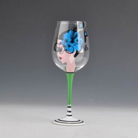 China 409ml human figure hand painted wine glass cup with high stem factory