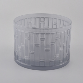 China 500ml Embossed candle container glass factory